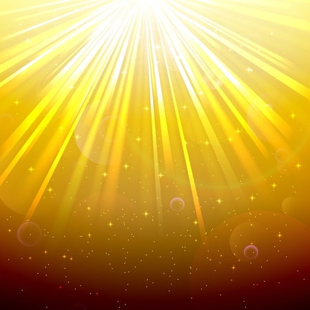 underwater light: Blurred underwater background with rays of light yellow and air bubbles Illustration