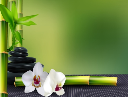 Stone, flower and bamboo on the table background Stock Photo
