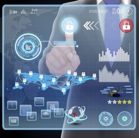 virtual technology: Businessman presses interface
