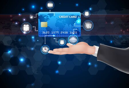 Man hand holding credit card and symbol Stock Photo