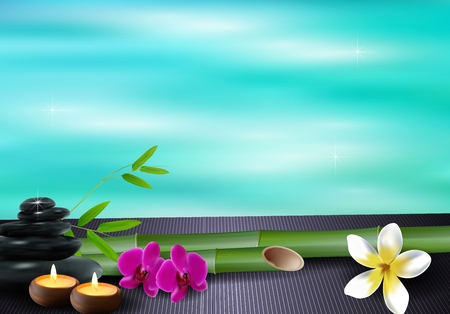 Stone, wax, flowers, and bamboo blue sea background Stock Photo