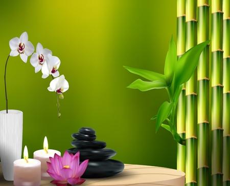 orchidee: Bambù, fiore, pietra, cera sul tavolo Archivio Fotografico