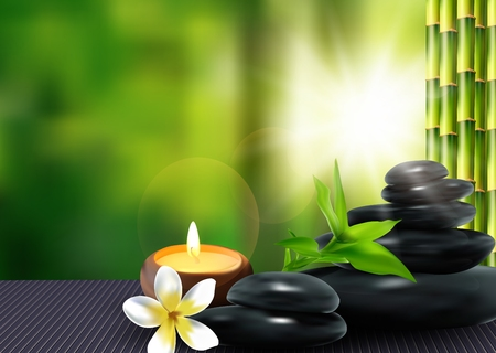 lastone: Stone, flower and bamboo background