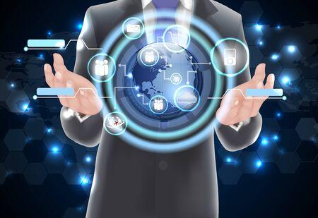 holograph: World technology communication concept globe