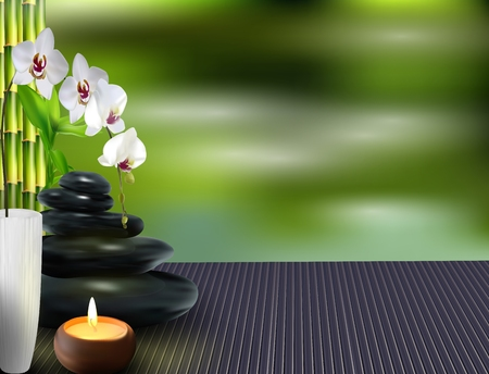 lastone: Stone, flower and bamboo on the table background Stock Photo