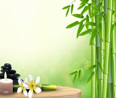 lastone: Bamboo, stone, flowers and wax background on the table Stock Photo
