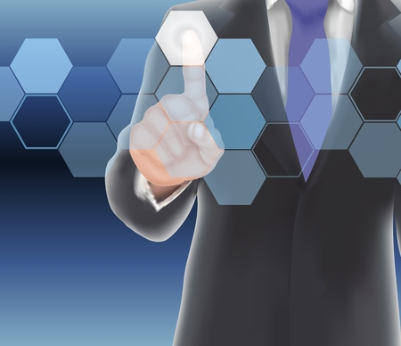 recourses: Businessman of visual touch screen. Stock Photo