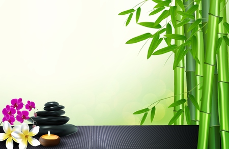 Bamboo, stone, flowers and wax background on the table Stock Photo