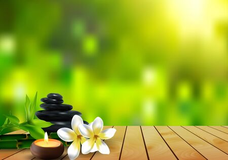 stone, flower, wax and bamboo background on the wood.