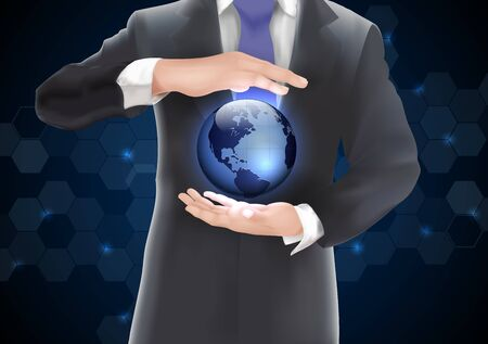 glowing skin: Hands holding earth with blue of background on blue and black