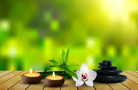 Stone, flower, wax and leaf on the table background Stock Photo
