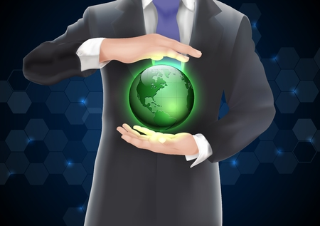 hands holding earth: Hands holding earth with green of background on blue and black