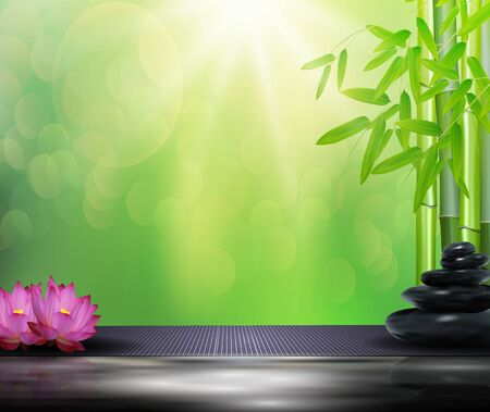 lastone: Bamboo, flowers, stone background on the big stone Stock Photo