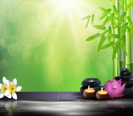 lastone: Bamboo, flowers, stone, wax and background on the big stone