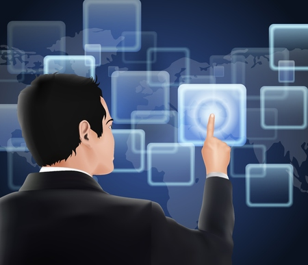 recourses: Businessman of visual touch screen Stock Photo
