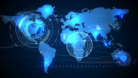 World map with background of blue graphic
