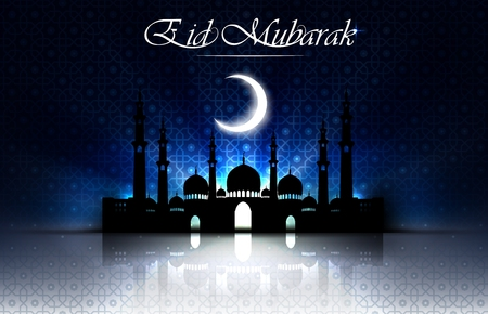 Beautiful religious eid background with mosque Illustration