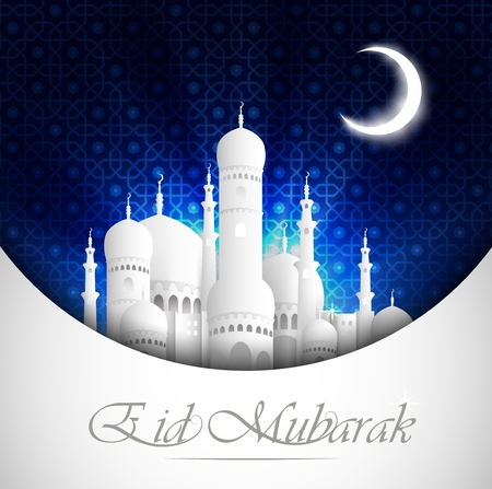 Eid Mubarak background with mosque view night Vectores