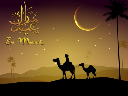 moon  desert: Camel walks through the desert in evening Illustration