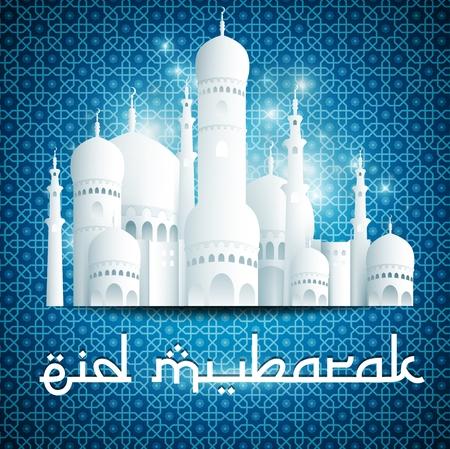 taz: Illustration of Eid Mubarak Happy Eid background with mosque