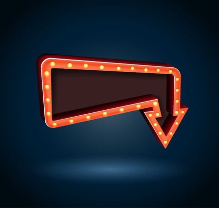 Retro arrow with space for text blue background. vector