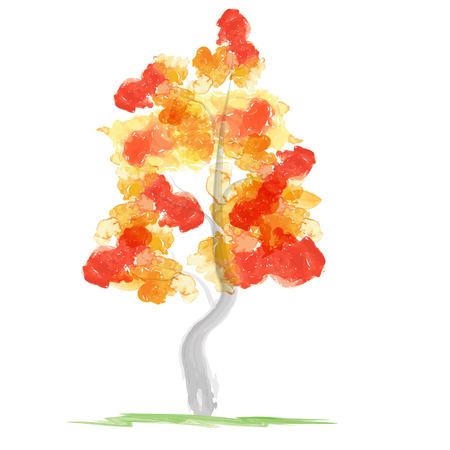 brush drawing: Autumn abstract tree Stock Photo