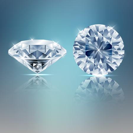 Two diamonds sparkling background. vector Illustration
