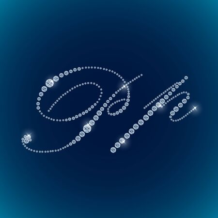 jewels: Shiny diamond alphabet letters blue background. vector