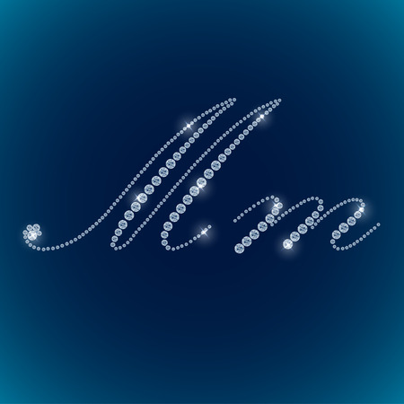 tipos de letras: Brillantes letras del alfabeto diamante fondo azul. vector