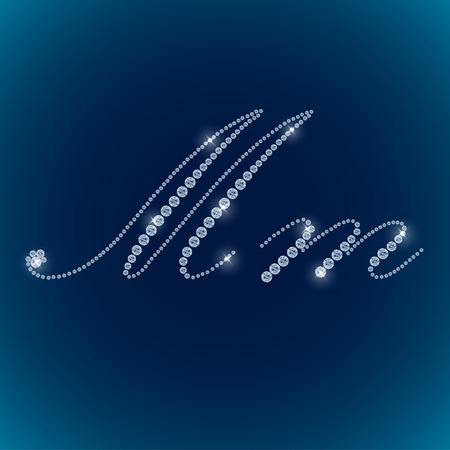 Shiny diamond alphabet letters blue background. vector