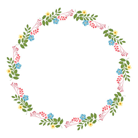 circle flower: Autumn Floral Frame Collections Stock Photo