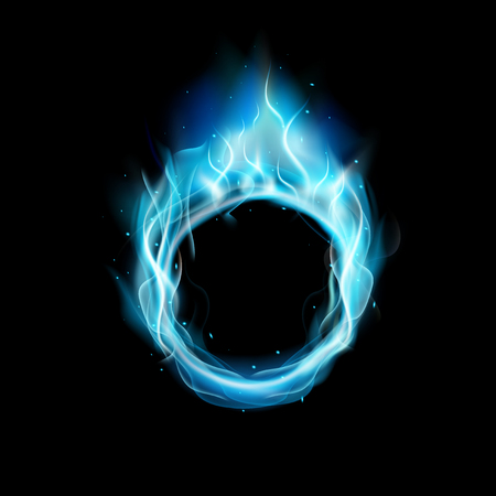 wallpaper rings: Blue ring of Fire with black background