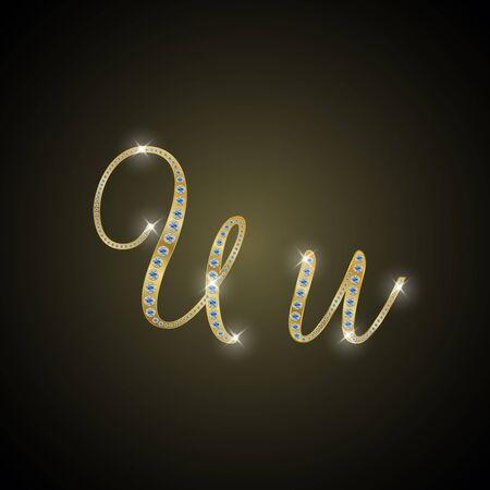 shiny gold: Shiny alphabet U of gold and diamond