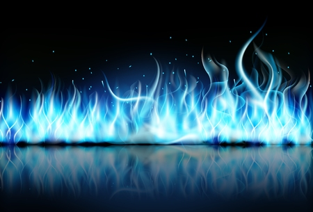 llamas de fuego: azul llama de fuego sobre fondo negro