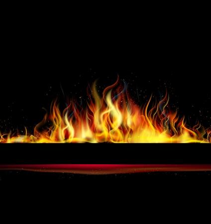 llamas de fuego: La llama del fuego sobre fondo negro