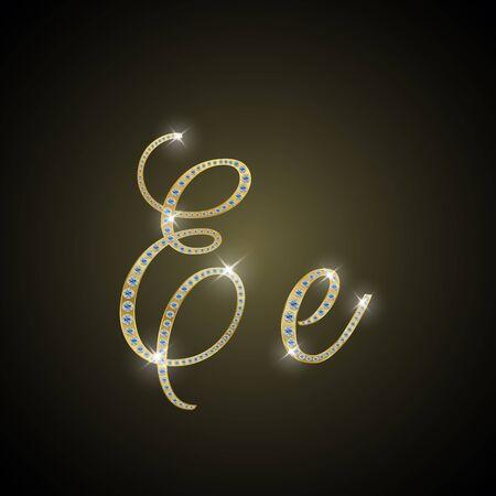 shiny gold: Shiny alphabet E of gold and diamond
