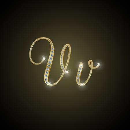 shiny gold: Shiny alphabet V of gold and diamond