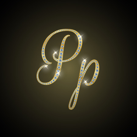 metal letter: Shiny alphabet P of gold and diamond Stock Photo