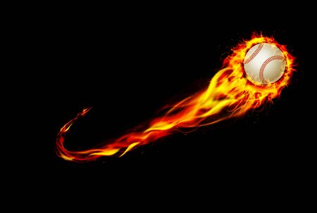 Fire burning baseball with background black