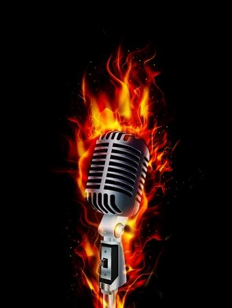Feuer brennt Mikrofon auf schwarzem Hintergrund Standard-Bild