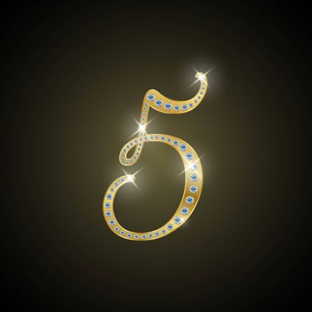 shiny gold: Shiny number 5 of gold and diamond Illustration
