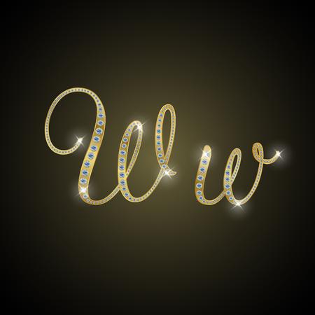 letter w: Shiny alphabet W of gold and diamond Stock Photo