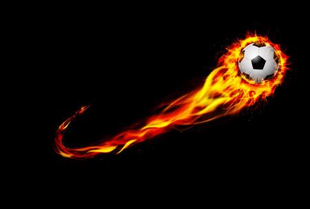 pelota de futbol: Fuego ardiente del balón de fútbol con el fondo negro Foto de archivo