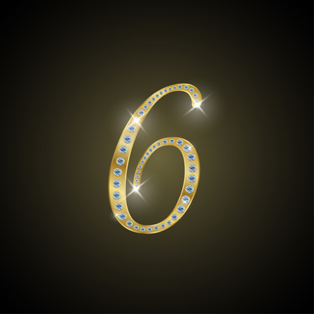 shiny gold: Shiny number 6 of gold and diamond Stock Photo