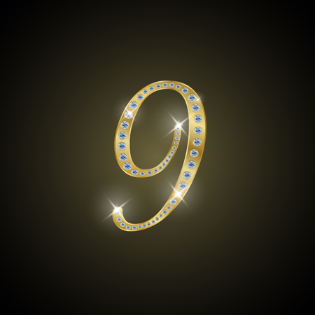 nulo: Shiny number 9 of gold and diamond