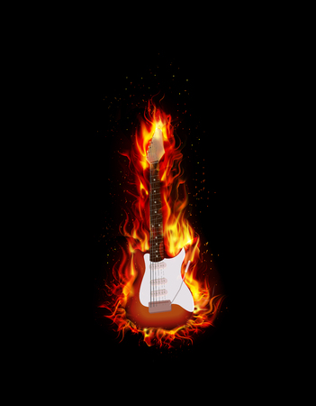 fiery: Fire burning guitar black background Illustration