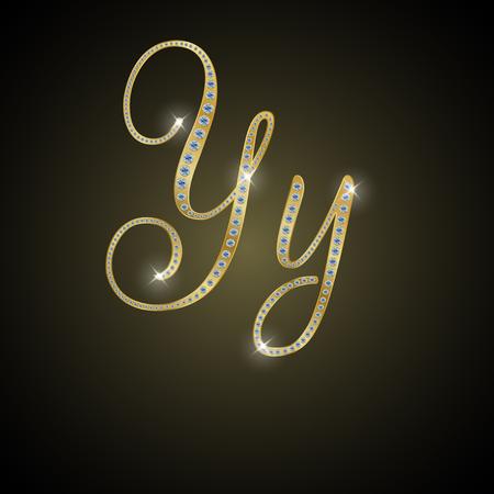nulo: Shiny alphabet Y of gold and diamond Vectores