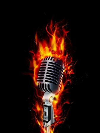 Fire burning microphone on black background