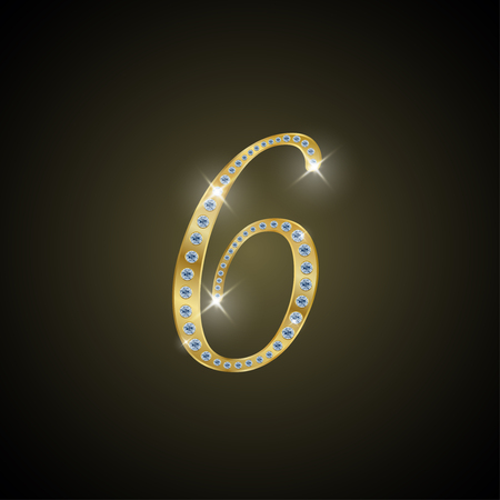 Shiny number 6 of gold and diamond Illustration