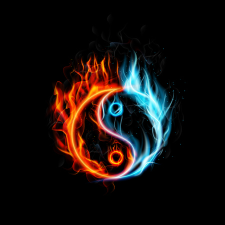 Illustration of Fire burning Yin Yang with black background Vectores